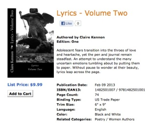 Lyrics - Volume Two is now available in paperback and Kindle versions.
